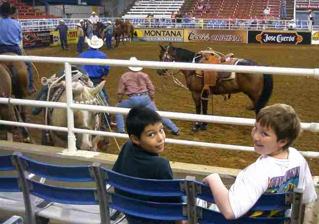 Alex and Samuel took in the Mesquite rodeo