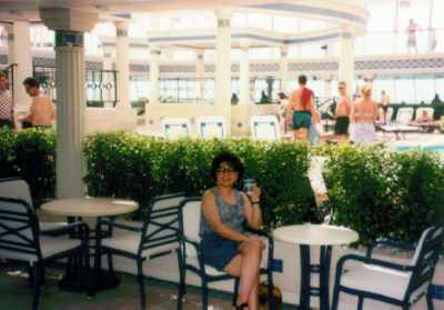 Angie sitting in the Solarium