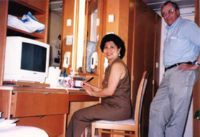 The stateroom includes plenty of storage, cable TV, writing desk, etc...