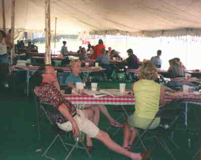 Even under the tent, it was HOT!