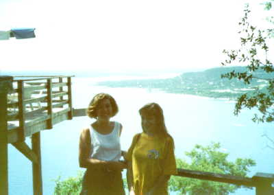 Lorrie and a friend at the Oasis on Lake Travis, Austin