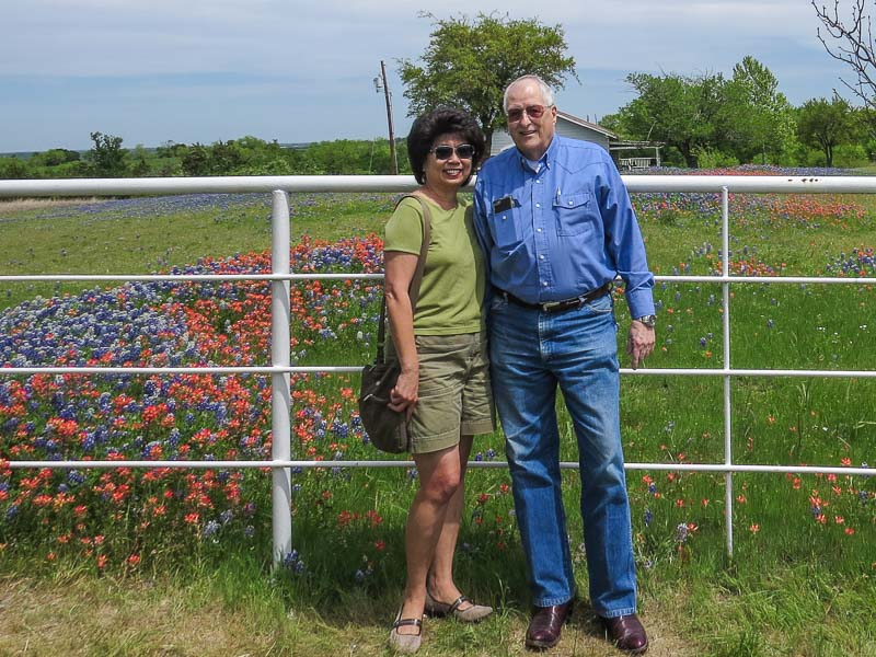 Angie and I with some Texas wildflowers in the background